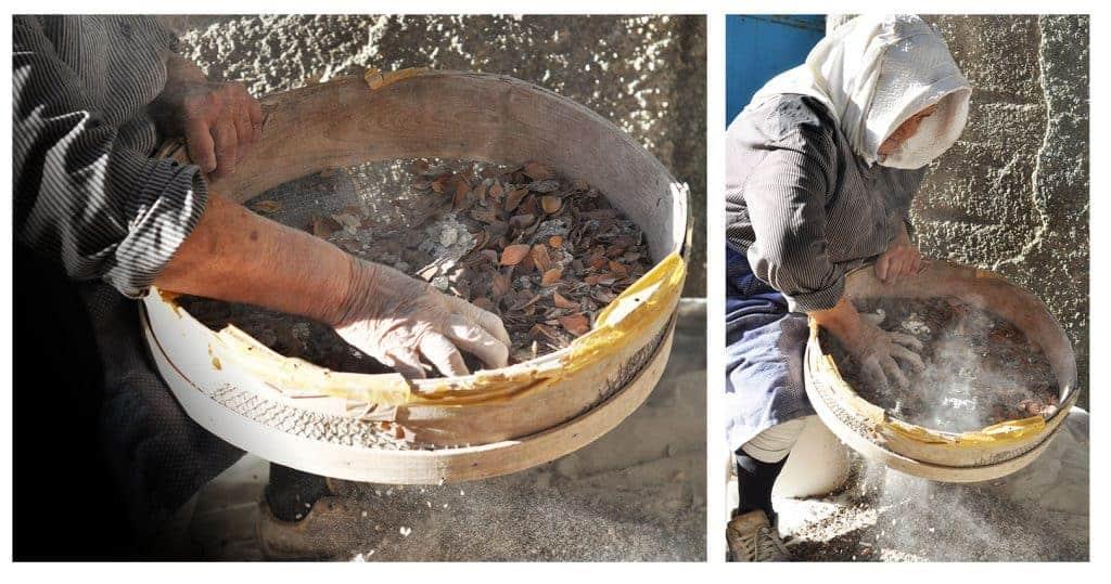 Ručné čistenie mastichových kryštálov