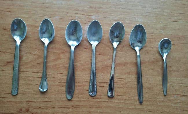 Rôzne typy čajovej lyžičky